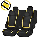 yellow and black car seat covers - FH GROUP FH-FB032114 Unique Flat Cloth Full Set Car Seat Covers, Yellow / Black with FH2033 Steering Wheel Cover and Seat Belt Pads- Fit Most Car, Truck, Suv, or Van