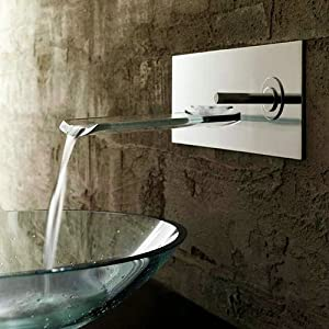 Single Handle Waterfall Ys4661 Wall Mount Bathroom Sink Faucet Chrome Touch On Bathroom Sink