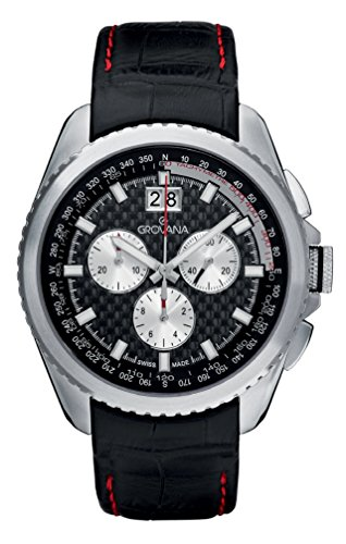 Grovana Men's 'Sport' Swiss Quartz Stainless Steel and Leather Casual Watch, Color:Black (Model: 1621-9537)