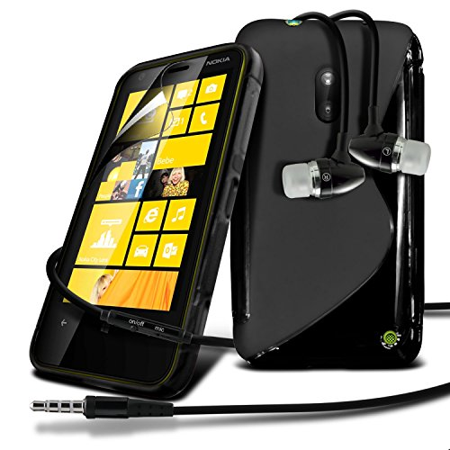 Nokia Lumia 620 Black S Line Wave Gel Case Skin Cover With LCD Screen Protector Guard, Polishing Cloth & Hands Free Earphone with Built in Microphone Mic & On-Off Button by Fone-Case
