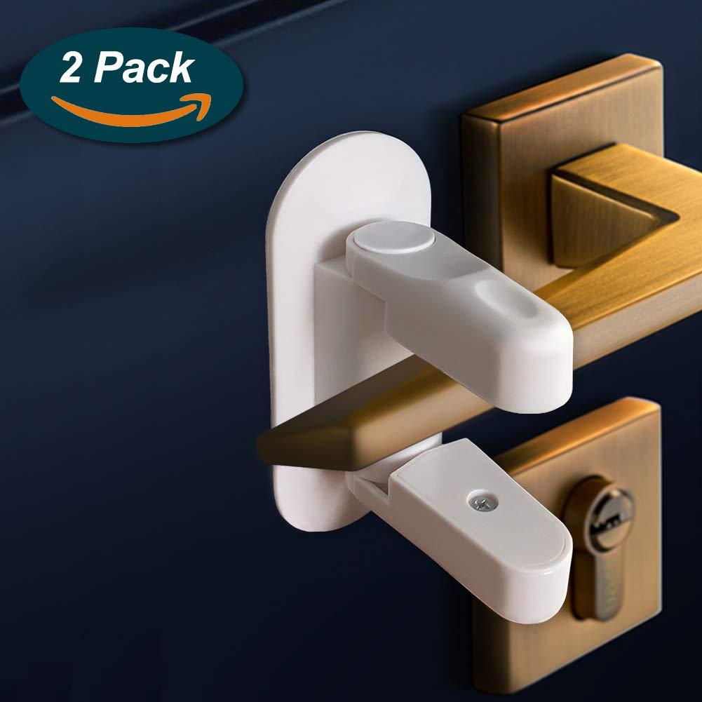 Door Lever Lock, Lookka Baby Proof Doors Handle Lock witn 3M Adhesive, Child Safety Door Lock for Front Home/Kitchen/Bathroom/Bedroom (2 Packs)