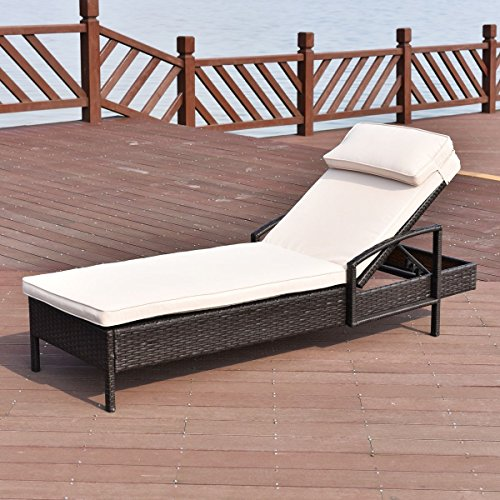 Premium Adjustable Lounge Chaise Long Chair Foldable Furniture for Outdoor Deck Garden Beach Patio or Poolside. Brown Color (Oasis Garden Long Beach Chairs)