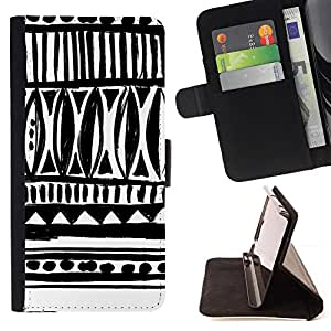 Jordan Colourful Shop - drawn ink art white black chevron For Apple Iphone 4 / 4S - Leather Case Absorci???¡¯???€????€????????&