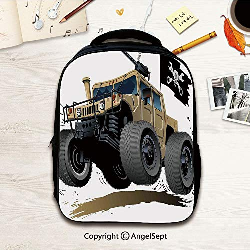 Toddler Backpack for Boys and Girls,Cars Off Road Famous Safari Rally Truck with,12.2