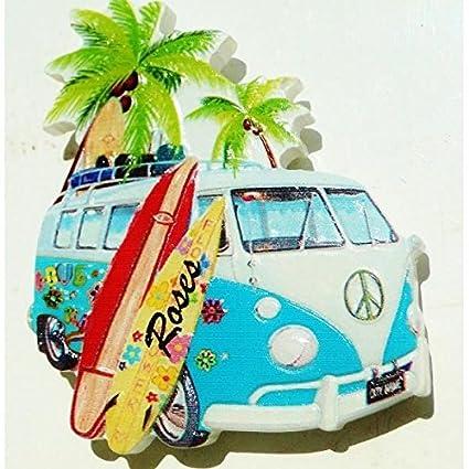 Magnet imán Collection en relieve Van Combi Hippie VW palmera de tablas de surf