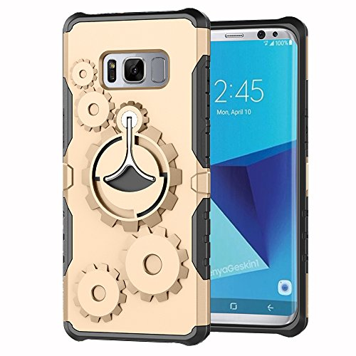 Price comparison product image Galaxy S8 Case, Ranyi [Gearwheel Armor] [360 Rotating Metal Kickstand] [Shock Absorbing] Premium Hybrid Dual Layer Rugged Protective Case Cover for Samsung Galaxy S8 5.8 inch (2017), gold