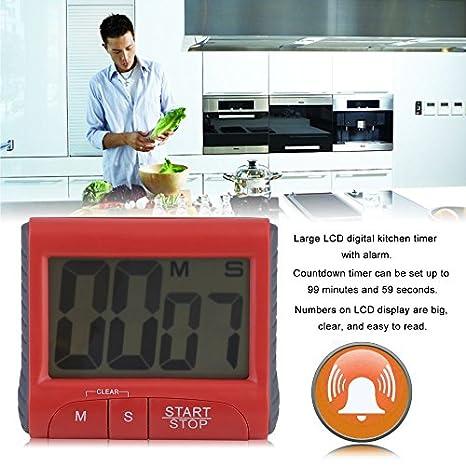 Compra Dailyinshop Temporizador de Cocina Digital LCD Grande Reloj de conteo descendente Alarma Alta en Amazon.es