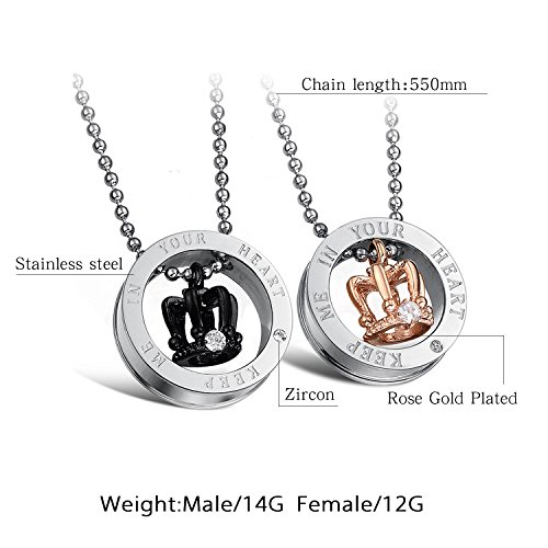 4d2c34e702 Fate Love Stunning 2pcs His & Hers Couples Gift Crown Pendant Love Necklace  Set for Lover