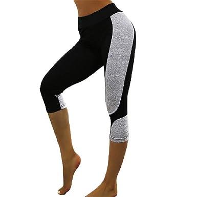 ASYHWZ Leggings cosidos Pantalones de Yoga de Cintura Alta ...