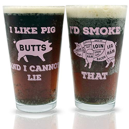 Funny Pint Beer Glasses Gift Set   Perfect for BBQ Grill Lovers, Couples, as an Engagement or Birthday Present, Gift for Newlyweds, Father's Day, your Dad or Grandpa