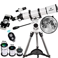 Telescope Specification  - Aperture: 90mm(3.5in)  - Focal Length: 600mm(23.62in)  - Focal Ratio: F6.7  - Eyepiece1: 25mm(0.98in)  - Magnification1: 24X  - Eyepiece2: 10mm(0.39in)  - Magnification2: 60X  - Eyepiece3: 5mm(0.196n)  - Magnificati...
