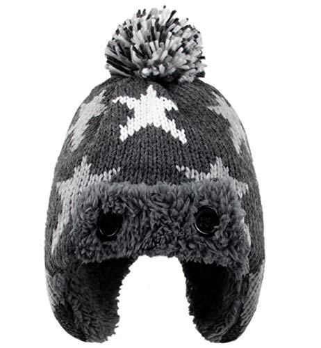 Baby Boy Hat and Mittens Set - Toddler Kids Soft Warm Winter Knit Hat with Snow Earflaps Beanie (4-6Years(Head Girth 21.3