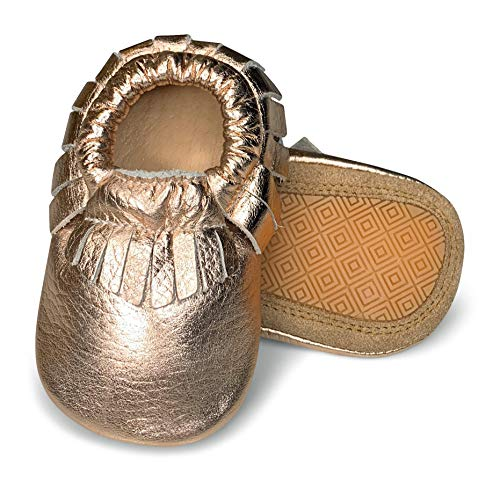 - Lucky Love First Walking Shoes for Baby Girls Rose Gold Moccasins