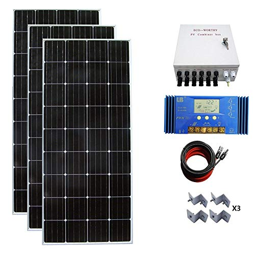 ECO-WORTHY 500W Monocrystalline Off Grid Solar Starter Kit: 3pcs 150W Mono Solar Panels + 60A Solar Charge Controller + PV Combiner Box + MC4 Solar Cable + Solar Panel Mounting ()