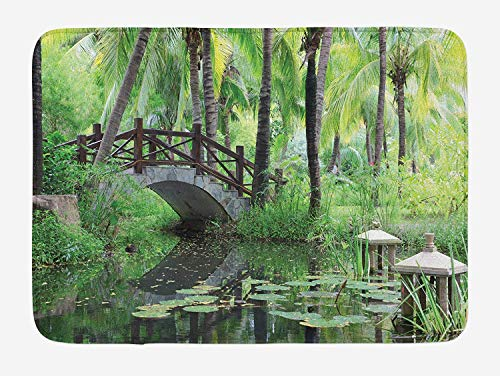 Bush Workstation Metal - Zen Garden Bath Mat, Green Landscape in South China Palm Trees and Bushes Lush Growth Nature, Plush Bathroom Decor Mat with Non Slip Backing, 23.6 W X 15.7 W Inches, Green Grey Brown