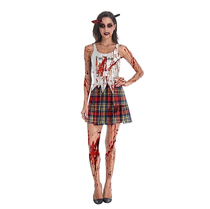 ASLKGV Halloween Disfraz de Colegiala Zombi, con Falda de Cuadros ...