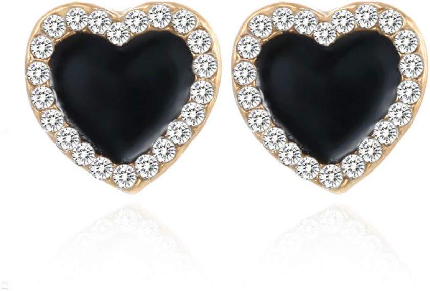 SSEHL Pendientes Cuadrado Negro Pendientes geométricos Coreanos para Las Mujeres de Cristal Boda Rhinestone Pendiente Oro Color