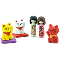 Iwako Japanese Doll and Cats Eraser Set