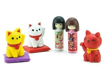 Amazon.es: Ty Iwako Eraserz Kokeshi - Set de Figura de muñeca y Gato: Juguetes y juegos