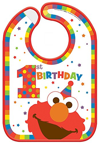 amscan Sesame Street Elmo Turns One Baby Bib, Birthday One Size, Multicolor ()