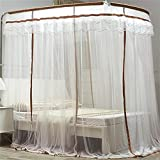 WP Telescopic Mosquito Net Three Door Landing Bracket 1.8m Bed , white + coffee side , 1.8m (6 feet) bed