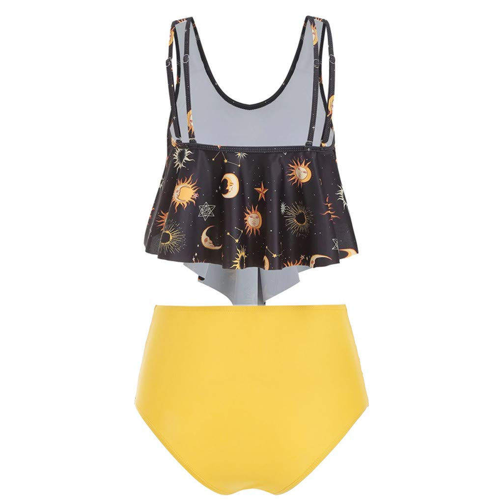 Women Two Pieces Tankinis High Waist Bathing Suits Top Ruffled Racerback Swimwear Retro Print Beachwear 3XL Bikinis Sets