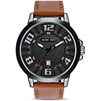 KONXIDO Wrist Watches for Men, Classic Business Casual Waterproof Quartz Men's Watch, with 30M Waterproof and Date Display, Great Gift for Someone or Yourself Brown