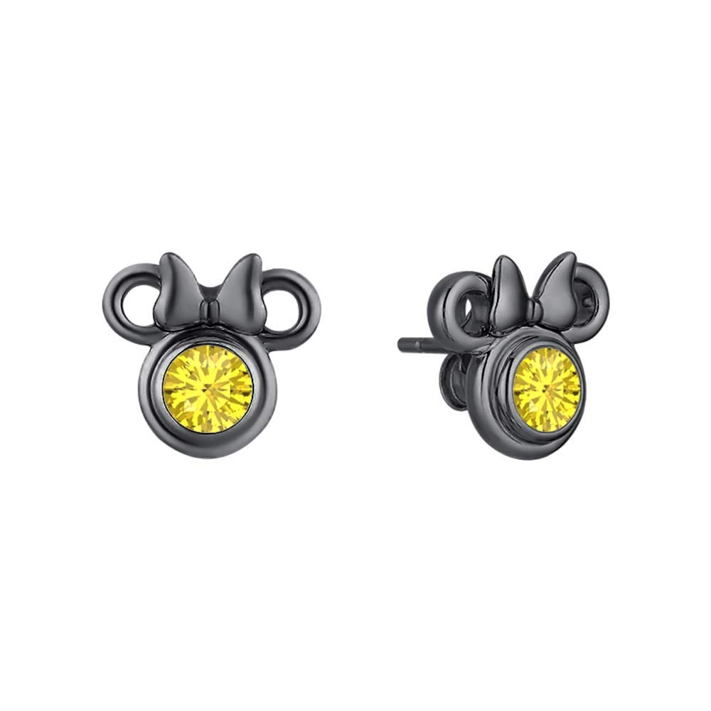 Gold /& Diamonds Jewellery Mickey Mouse 14k Black Gold Over .925 Sterling Silver Gemstones Earrings For Girls