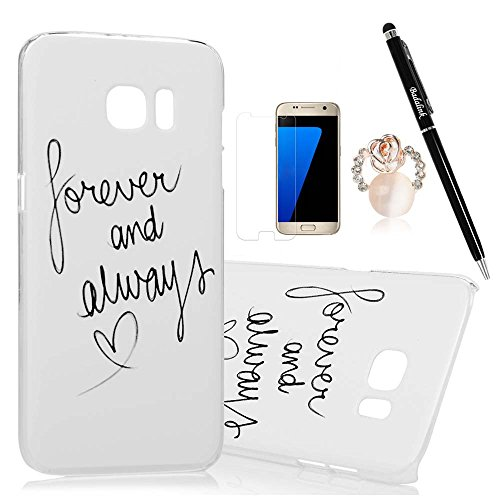 Samsung Galaxy S7 Edge Case Clear Colorful Case Cute Words Forever and Always Love You Ultra Slim-Fit Easy Makeup PC Bumper Cover & HD Screen Protector Diamond Dust Plug Stylus Pen by Badalink