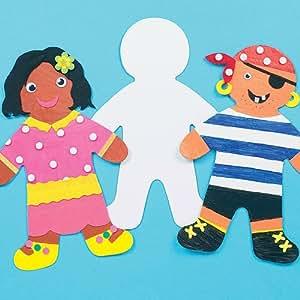 Plantillas de Cartulina Grandes con Forma de Persona para Pintar y Decorar. Manualidades Creativas para Niños Perfectas para Fiestas Infantiles (Pack de 12)