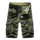 Men's Cotton Loose Fit Multi Pocket Cargo Shorts(No Belt)