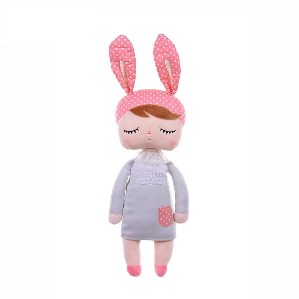 Fancyus 13'' Metoo Angela Sleeping Bunny Rabbit Girl Baby Stuffed Plush Dolls Toys, Pink Ears with Grey Dress by Fancyus