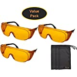 Uvex S0360X Ultra-spec 2000 Safety Eyewear, Orange Frame, UV Extreme Anti-Fog Lens (3-Pack) w/ Exclusive InPrimeTime Carry Pouches