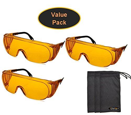 Uvex S0360X Ultra-spec 2000 Safety Eyewear, Orange Frame, UV Extreme Anti-Fog Lens (3-Pack) w/ Exclusive InPrimeTime Carry - Uv Eyewear