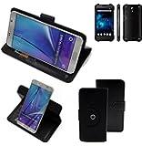 Case 360° Cover pour Smartphone Blackview BV5000, noir   Fonction Stand Case Wallet BookStyle meilleur prix, la meilleure performance - K-S-Trade (TM)