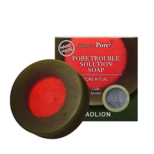 (Caolion Pore Trouble Solution Soap - Calms and Hydrates Skin with Green Tea, Aloe - 3.53 oz.)