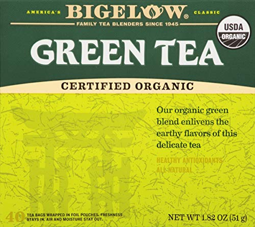 - Bigelow Organic Green Tea 40 Bags (Pack of 6) Organic Caffeinated Individual Green Tea Bags, for Hot Tea or Iced Tea, Drink Plain or Sweetened with Honey or Sugar