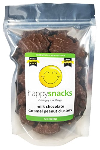 Milk Chocolate Covered Caramels (Happy Snacks Chocolate Covered Caramel Peanut Clusters - Pure Milk Chocolate - Resealable Pouch (12 oz))