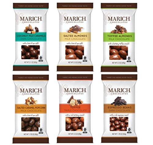 Marich Premium Chocolates 6 Flavor Sampler Bundle, (1) each: Coconut Milk Caramels, Salted Almonds, Toffee Almonds, Salted Caramel Popcorn, Toffee, Espresso Beans (1.76-2.3 ()