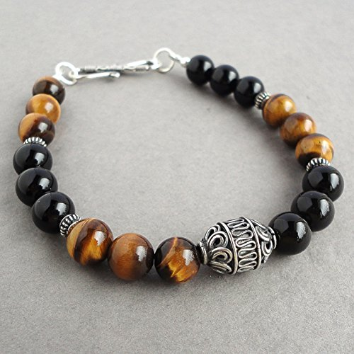 Mens Bracelet - Tiger Eye & Black Onyx Gemstone with Bali Sterling Silver, Beaded Jewelry for Men, Handcrafted in USA