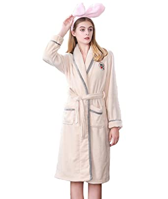 fc24e6ee37 DIOWW Fleece Bathrobes for Women - Ladies Winter Home Flannel Fleece Robe  Warm Comfortable Collar Bathrobe
