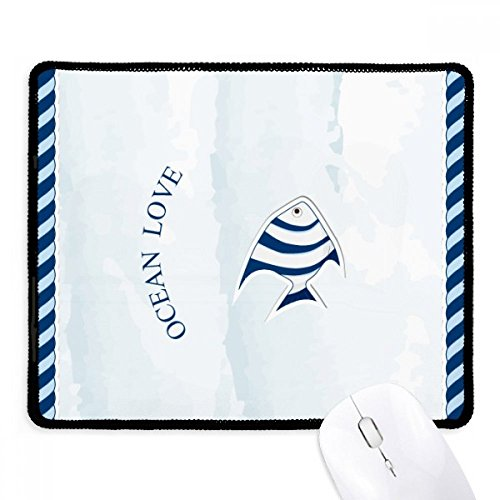 - Tropical Fish Ocean Love Sea Sailing Blue Non-Slip Mousepad Game Office Black Stitched Edges Gift
