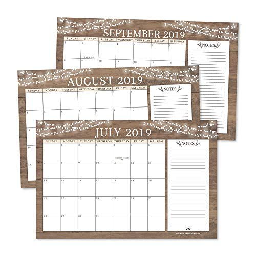 Rustic 2019-2020 Large Monthly Desk or Wall Calendar Planner, Big Giant Planning Blotter Pad, 18 Month Academic Desktop, Hanging 2-Year Date Notepad Teacher, Mom Family Home or Business Office 11x17