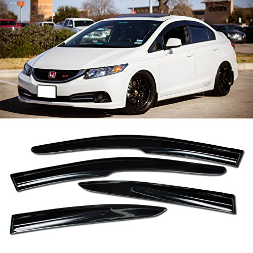 VXMOTOR 2012-2015 Honda Civic Sedan Mugen II Style Window Visors Rain Guard Defector 4DR 2012 2013 2014 2015 ()