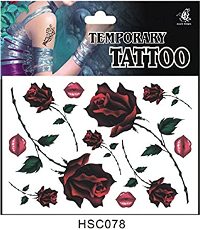 ae1d236e5 Amazon.com: Classic Rose Pattern Water Transfer Flash Fake Tattoo Sticker  Sex Products Waterproof Temporary Tattoo Sticker The Wind Wind Blown  Feathers: ...