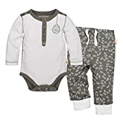 Burt's Bees Baby Baby Organic Long Sleeve Bodysuit and Pant Set, Cloud Henley, 24 Months
