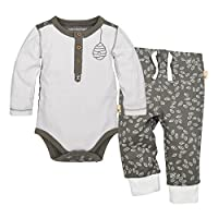 Burt's Bees Baby Baby Organic Long Sleeve Bodysuit and Pant Set, Cloud Henley...