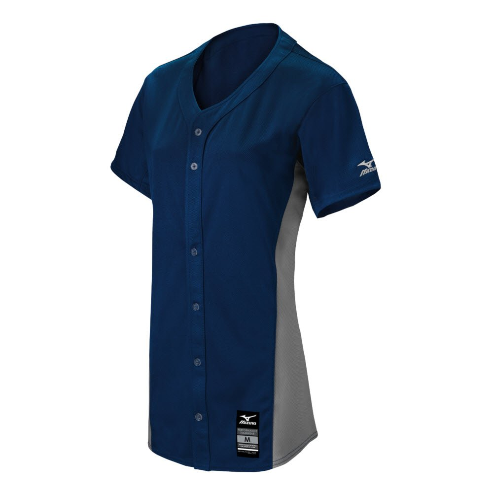 MizunoレディースPro full-button Game Jersey B074BZXFHB 3X-Large|Navy-Grey Navy-Grey 3X-Large
