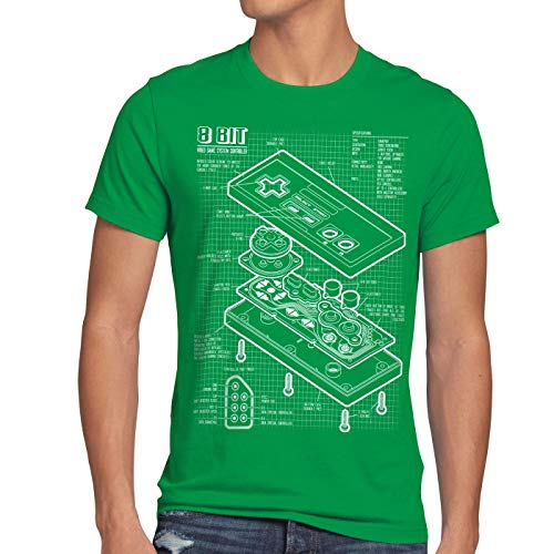 NES Controller Blueprint 8-Bit Mario Donkey Bros Kong Men's T-Shirt