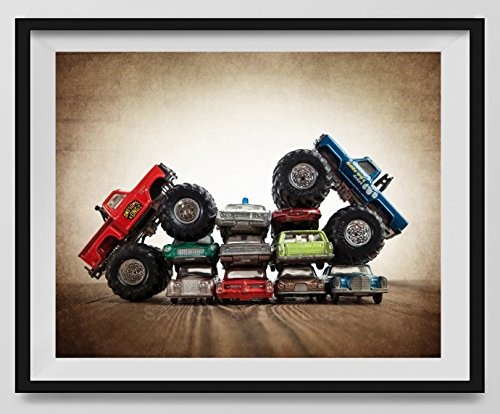 Vintage Monster Trucks Car Crush Bigfoot Vs. Awesome Kong, Boys room Wall art, Photo Decor, Monster truck room, Nursery decor, Kids Room Wall Art. by Saint and Sailor Studios